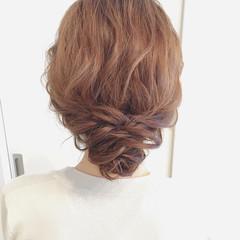 ミディアム 結婚式 ゆるふわ ブライダル ヘアスタイルや髪型の写真・画像