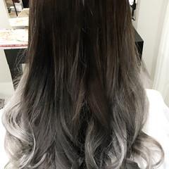 グラデーションカラー セミロング ハイトーン ガーリー ヘアスタイルや髪型の写真・画像