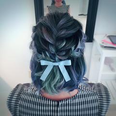 ガーリー ハーフアップ ヘアアレンジ ミディアム ヘアスタイルや髪型の写真・画像