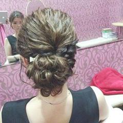 結婚式 上品 ヘアアレンジ セミロング ヘアスタイルや髪型の写真・画像