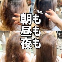 ストレート グレージュ 髪質改善 ブリーチなし ヘアスタイルや髪型の写真・画像