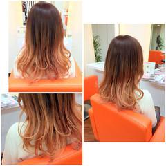 ハイライト グラデーションカラー ピンク ガーリー ヘアスタイルや髪型の写真・画像