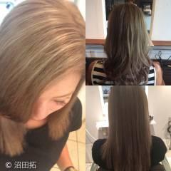 外国人風 セミロング 透明感 ストリート ヘアスタイルや髪型の写真・画像