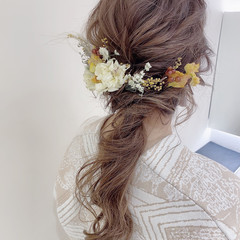 フェミニン セミロング ヘアスタイルや髪型の写真・画像