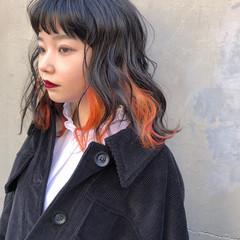 インナーカラーオレンジ ナチュラル ボブ インナーカラー ヘアスタイルや髪型の写真・画像