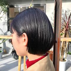 透明感カラー シンプルボブ 切りっぱなしボブ ショート ヘアスタイルや髪型の写真・画像