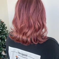 ナチュラル ピンクラベンダー ピンクベージュ ピンク ヘアスタイルや髪型の写真・画像