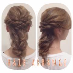 ツイスト 編み込み モテ髪 ヘアアレンジ ヘアスタイルや髪型の写真・画像