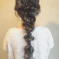 二次会 ヘアアレンジ 波ウェーブ 結婚式 ヘアスタイルや髪型の写真・画像