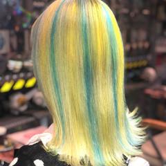 ガーリー ターコイズブルー ミディアム ミニボブ ヘアスタイルや髪型の写真・画像