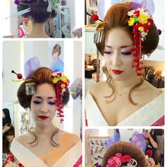 着物 和装 セミロング ヘアアレンジ ヘアスタイルや髪型の写真・画像