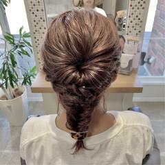 ロープ編み 編み込み くるりんぱ 結婚式ヘアアレンジ ヘアスタイルや髪型の写真・画像