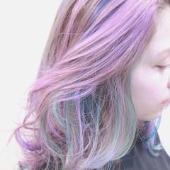 ストリート バレイヤージュ ハイライト パープル ヘアスタイルや髪型の写真・画像