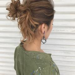 ミディアム ヘアアレンジ アウトドア 簡単ヘアアレンジ ヘアスタイルや髪型の写真・画像