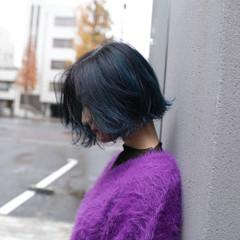 グラデーションカラー モード ブルー ボブ ヘアスタイルや髪型の写真・画像