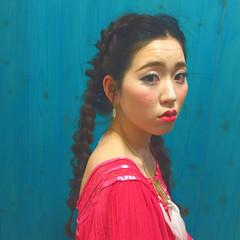 暗髪 外国人風 ロング ヘアアレンジ ヘアスタイルや髪型の写真・画像