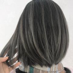 バレイヤージュ グレージュ ボブ 茅ヶ崎 ヘアスタイルや髪型の写真・画像