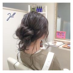 ショート セミロング メッシーバン 簡単ヘアアレンジ ヘアスタイルや髪型の写真・画像
