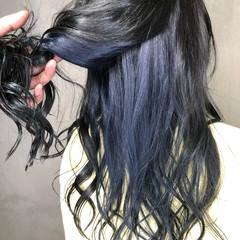 ロング インナーカラー 外国人風カラー ネイビー ヘアスタイルや髪型の写真・画像