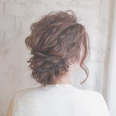 外国人風 セミロング 結婚式 ヘアアレンジ ヘアスタイルや髪型の写真・画像