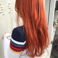 オレンジ アプリコットオレンジ オレンジカラー オレンジブラウン ヘアスタイルや髪型の写真・画像