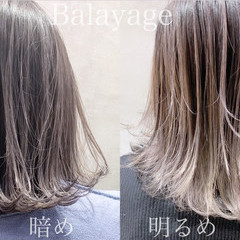 ブリーチ ミディアム ナチュラル バレイヤージュ ヘアスタイルや髪型の写真・画像