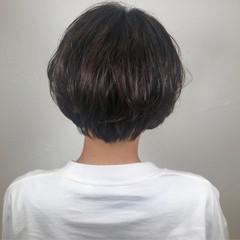 ショート パーマ ナチュラル 黒髪 ヘアスタイルや髪型の写真・画像