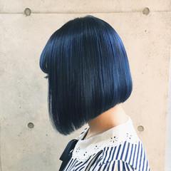 ボブ ブルー ハイトーン ネイビー ヘアスタイルや髪型の写真・画像