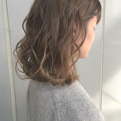 ゆるふわ グラデーションカラー ガーリー ミディアム ヘアスタイルや髪型の写真・画像