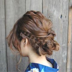 ヘアアレンジ 和装 花火大会 まとめ髪 ヘアスタイルや髪型の写真・画像