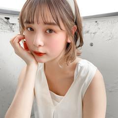 セルフヘアアレンジ ナチュラル ミディアム 簡単ヘアアレンジ ヘアスタイルや髪型の写真・画像