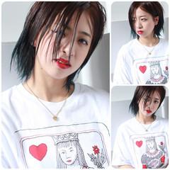 外国人風 ダブルカラー グラデーションカラー グリーン ヘアスタイルや髪型の写真・画像