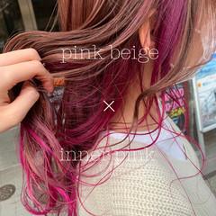 フェミニン ロング イヤリングカラー ピンク ヘアスタイルや髪型の写真・画像
