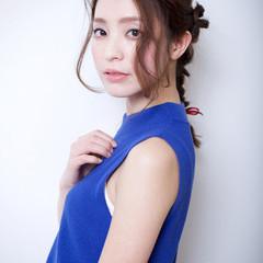大人かわいい フェミニン 編み込み 簡単ヘアアレンジ ヘアスタイルや髪型の写真・画像