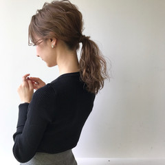 ミルクティー ナチュラル ヘアアレンジ ミディアム ヘアスタイルや髪型の写真・画像