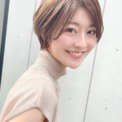 大人女子 ショートボブ ハイライト ショート ヘアスタイルや髪型の写真・画像