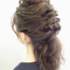 波ウェーブ ハーフアップ 編み込み ロープ編み ヘアスタイルや髪型の写真・画像