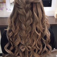 編み込みヘア モテ髪 簡単ヘアアレンジ セミロング ヘアスタイルや髪型の写真・画像