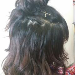 ハーフアップ お団子 ヘアアレンジ ショート ヘアスタイルや髪型の写真・画像