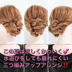 くるりんぱ ヘアアレンジ ヘアセット フェミニン ヘアスタイルや髪型の写真・画像