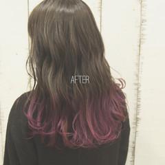 ミディアム グラデーションカラー ストリート セミロング ヘアスタイルや髪型の写真・画像