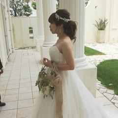 ヘアアレンジ 上品 花嫁 エレガント ヘアスタイルや髪型の写真・画像