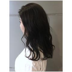 黒髪 ダークアッシュ セミロング ナチュラル ヘアスタイルや髪型の写真・画像