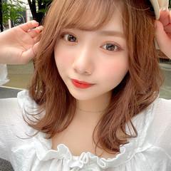 小顔ヘア キャップ ミルクティーベージュ ミディアム ヘアスタイルや髪型の写真・画像