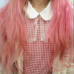 レッド ピンク ロング 春 ヘアスタイルや髪型の写真・画像