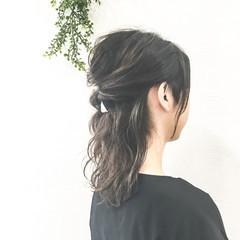 ハーフアップ ハイライト ピュア ボブ ヘアスタイルや髪型の写真・画像