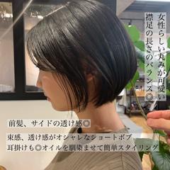 大人ショート ナチュラル オフィス 黒髪 ヘアスタイルや髪型の写真・画像