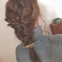 ヘアアレンジ ルーズ 簡単ヘアアレンジ 三つ編み ヘアスタイルや髪型の写真・画像
