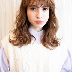 ガーリー 無造作パーマ エアウェーブ 前髪パーマ ヘアスタイルや髪型の写真・画像