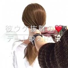 フェミニン ヘアアレンジ セミロング アウトドア ヘアスタイルや髪型の写真・画像